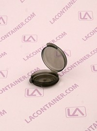 Lacons® 1/20oz Transparent Black Round Hinged-Lid Plastic Container