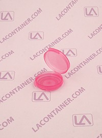 Lacons® 1/20oz Transparent Pink Round Hinged-Lid Plastic Container