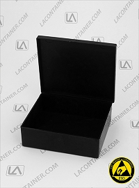 Laboxx 353010-CAS Black Conductive Antistatic ESD Plastic Box