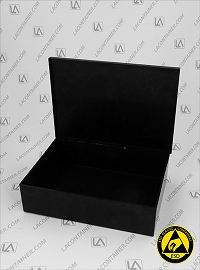 Laboxx 705017-CAS Black Conductive Antistatic ESD Plastic Box